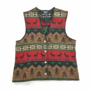 Woolrich and Brother Deer-Themed Knit Vest Vtg USA